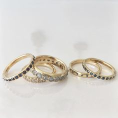 Lauren Wolf Jewelry colored diamond eternity bands at ESQUELETO
