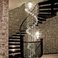 Beautiful Spiral Meteor Shower Crystal Raindrop Chandelier - Ceiling Lights - Staircase Chandelier at the best price you can find online from Sofary (Siljoy) Lighting! Directly from manufacturers which can save you up to off! We do customization as well! Crystal Chandelier Lighting, Stair Lighting, Modern Chandelier, Staircase Design, Staircase Chandelier, Chandelier Ceiling Lights, Stairway Lighting, Entryway Chandelier, Modern Interior Design