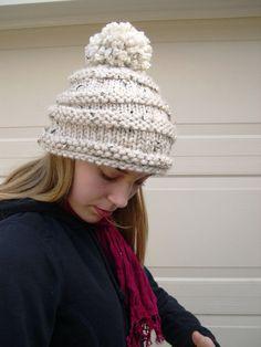 Alpine Pom Pom hat Aspen Winter Fashion 2014 by MaryKCreation, $45.00