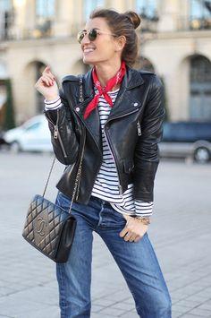 fall / winter - street style - street chic style - casual outfits - fall outfits - boho chic style - comfy outfits - red bandana + striped tee + black leather jacket + black shoulder bag + boyfriend jeans + aviator sunglasses + black booties