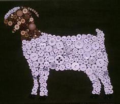 Button Art- Boer Goat Cute As A Button  Customized Button Art