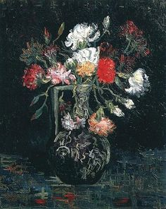 1887 Vase with White and Red Carnations  oil on canvas 58 x 45.5 cm ART & ARTISTS: Vincent van Gogh - Flowers part 2