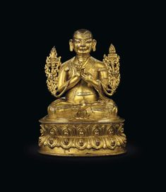 "9/"" Asian Antique Tibetan Buddhism copper gilt hand painting Future Buddha statue"
