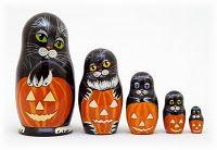 Halloween cat nesting dolls