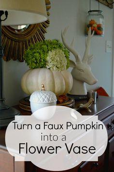 Turn a faux pumpkin into a flower vase in under 10 minutes. | chatfieldcourt.com