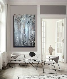 "Sale LARGE Abstract painting Modern wall & home decor contemporary FREE Shipping/US art oil painting canvas original handmade 24""x48"""