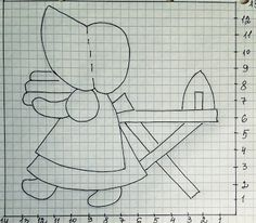 Figure (diagram) and pattern. Applique on the fabric. Jelly Roll Quilt Patterns, Applique Patterns, Applique Quilts, Embroidery Applique, Sunbonnet Sue, Girls Quilts, Baby Quilts, Japanese Patchwork, Sampler Quilts