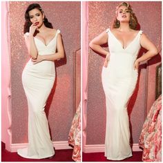 From brides to elegant evenings we just released our Laura Byrnes California Ivory Gilda Gown.  We also put together a small bridal section, check it out now in sizes XS - 4X now at www.pinupgirlclothing.com. Model: @kishserratos & @callmek5 Shot at: @madonnainn1958 <3 Micheline #pinupgirlclothing #coutureforeverybody #bodypositive #curvy #vintageinspired #pinupgirlstyle #pinupstyle #pinupgirl #pinup #bridal #wedding #madonnainn #gildagown