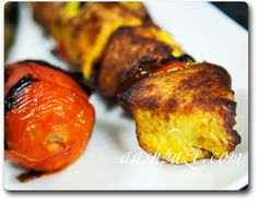 Persian Jujeh Kabab - chicken kebabs spiced with saffron, turmeric, and olive oil.