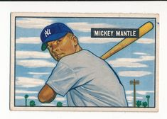 A 1951 Bowman Mickey Mantle Rookie, Card Wow! No creases. Minor to Moderate corner wear. Mickey Mantle, Corner, Bright, Ink, Baseball Cards