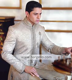 Style Indulge yourself this season with this finely embr Sherwani Groom, Mens Sherwani, Wedding Sherwani, Indian Groom Wear, Indian Wear, Indian Dresses, Indian Outfits, Groom Dress, Men Dress