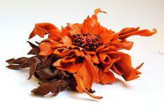 Orange leather brooch