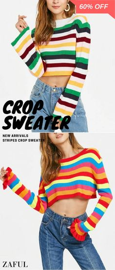 Crafted from stretchy comfy fabric, this crew-collar pullover features multicolored stripes graphic pattern, classic ribbed detailing, and an alluring cropped length. Just go with your fashionable high-waisted ripped jeans for a Cropped Sweater, Sweater Cardigan, Teen Fashion, Fashion Outfits, Casual Outfits, Cute Outfits, Glamour, Cute Sweaters, All About Fashion