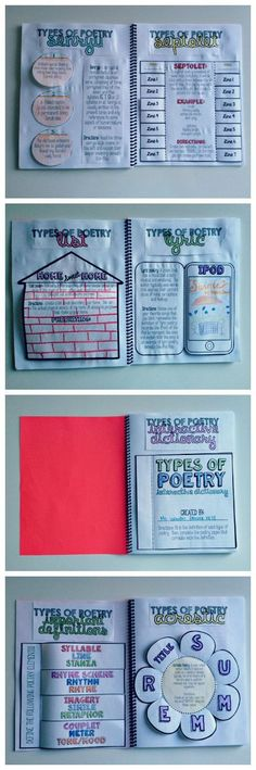 Types of poetry interactive notebook for grades 6-10