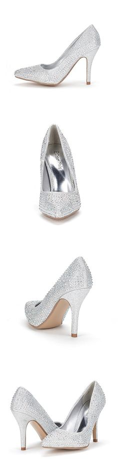 DREAM PAIRS TAYLER-S Women's Elegant Rhinestone High Heels Pointy Close Toe Stiletto Pumps Shoes Silver Size 8.5