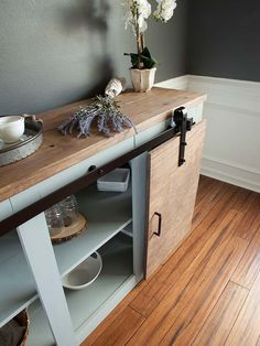 Simple Tweaks for 3 Modern Farmhouse Furniture Projects: Grandy Sliding Door Buffet Table
