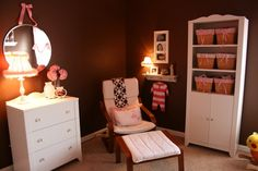 ikea in the nursery Dream Furniture, White Furniture, Painted Furniture, Ikea Nursery, Nursery Ideas, Dark Brown Walls, Baby Room Decor, Baby Rooms, Princess Room