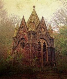 A forgotten mausoleum in the misty forest. Torre Alfina, Italy