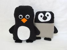 Penguin Softie Sewing Pattern comes with different face options for babies. Very easy beginner stuffed penguin sewing pattern available in PDF format as an instant download.