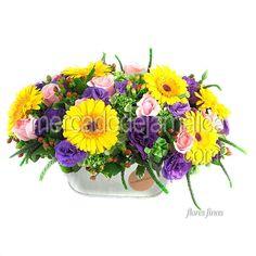 Flores DF Mexico Gerberas y Lisianthus Morado !| Envia Flores