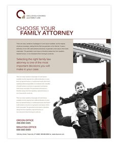 Family law flyer template will be a good choice for presentations on family law firms. Find flyer templates - download, edit & print!    SKU : FY090079LT  Page Size : 8.5in x 11in  Fold Type : No Fold  Purchase Includes : Artwork, Images & Fonts  Software Requirement : Adobe Illustrator CS5    http://dlayouts.com/13-All-Items/617-Family-Law-Flyer-Template/flypage.tpl.html