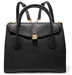 MICHAEL Michael Kors - Mercer Convertible Textured-leather Backpack - Black