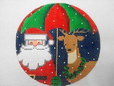 Santa and his Reindeer under a Christmas Umbrella-NM ARTS series of Santas 18 ct. handpainted ornament