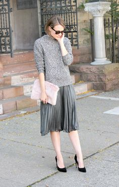 Cozy sweater + pleated midi skirt