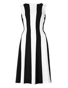 Vertical Striped Skater Dress   M&S