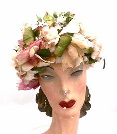 Vintage Christian Dior Hat Silk Floral Explosion 1950s Large – The ...