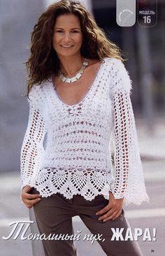 crochet remera mangas largas