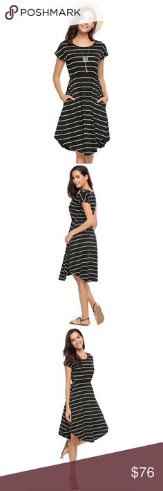 Jersey Stripe Elastic Waist Midi Dress w Pockets Comfortable, cute, casual, striped dress. An easy, relaxed fit with a figure flattering elastic waist. Short sleeves, scoop neck, slight shirttail dolphin hem with a bit of a flared a line cut and midi length. And best of all, pockets!  Available in ivory, black, burgundy, navy blue, and grey.   Sizes XS, S, M, L, XL/1X, XXL/2X  ❌ Sorry, no trades.  fairlygirly fairlygirly Dresses Midi