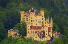 Hohenschwangau Castle is a 19th-century palace in southern Germany. It is located on a hill above the Alpsee (Alp Lake) in the German village of Hohenschwangau (HighSwanCounty) near the town of Füssen, as part of the county of Ostallgäu in southwestern Bavaria, Germany, close to the border with Austria. It was the childhood residence of King Ludwig II where he oversaw the construction of his own castle, Neuschwanstein, just across the way.