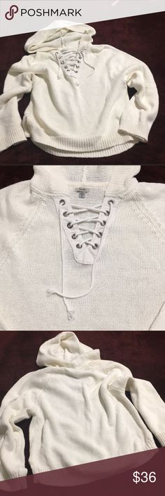 Ecote Lace Up Hooded Sweater (White) Thick, warm, slouchy (including wider sleeves/not fitted) really nice looking comfort sweater. Very well-made-it's not a cheap feeling or looking.  Worn a few times but not often. We don't dry tops/dresses, laid out to dry and well cared for.  Only noted one extremely tiny spot where the yarn frayed the slightest bit; is still weaved and not a hole. I scrutinized with a flashlight for flaws because I myself am really picky. Purchased at Urban Outfitters…
