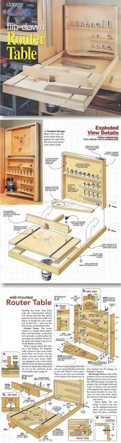 Fold Down Router Table Plans - Router Tips, Jigs and Fixtures | http://WoodArchivist.com