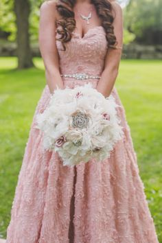 Bouquet Vintage Bohemian Inspired Fabric Flower Brooch Bouquet Ivory and Champagne with Dusty Rose Buds and All Brooch…