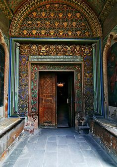 Many colors and beautifully painted patterns, interior door at Etchmiadzin Monastery complex in Armenia.