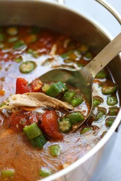 Mom's Chicken Gumbo Soup recipe is a heart warming & satisfying meal perfect for fighting off the winter colds and flu. Uses okra, tomatoes & gumbo file. Chicken Gumbo Soup, Chicken Gumbo Recipes, Okra Recipes, Real Food Recipes, Soup Recipes, Couscous Recipes, Cajun Recipes, Chicken Meals, Chicken Sausage