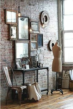 Vintage Industrial Decor Exposed brick is a must Discover Your Home's Decor Personality: Warm Industrial Inspirations Warm Industrial, Vintage Industrial Furniture, Industrial House, Industrial Design, Industrial Lamps, Industrial Interiors, Industrial Farmhouse, Kitchen Industrial, Modern Interiors