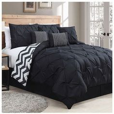 NEW Bed Bag King Queen 7 pc Black Pinch Pleat Chevron Reversible Comforter Set