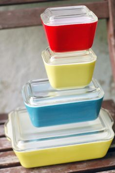 vintage pyrex | Vintage Pyrex Primary Colors Refrigerator Dishes by VintageSoup
