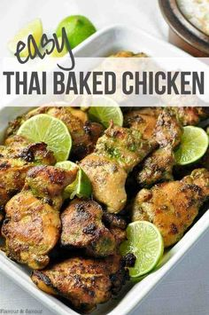 Easy Thai Baked Chicken Paleo Marinate boneless skinless chicken thighs or breasts then bake in the oven Simple and incredibly flavourful thai baked chicken recipe simple easy coconutmilk Chicken Thigh Recipes, Chicken Flavors, Baked Chicken Recipes, Paleo Chicken Thighs, Paleo Recipes, Asian Recipes, Cooking Recipes, Thai Recipes, Thai Dessert Recipes
