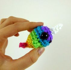 Baby Narwhal  Bright Rainbow Striped  by SyppahsCuteCreations