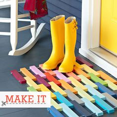Spring Decorating DIY's - not sure white I like more; that bright rainbow welcome mat, or the sunny yellow boots and front door! :)