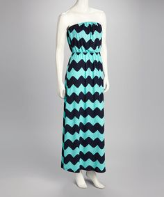 Take a look at this Mint & Navy Jagged Zigzag Strapless Maxi by Fashionomics on #zulily today!