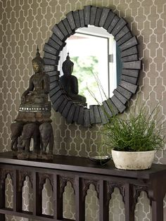 Zen foyer design with taupe moorish tiles walls, black round mirror, wood console table, Buddha and plant. Foyer Design, Wall Design, Entrance Design, Black Round Mirror, Round Mirrors, Entrance Foyer, Entryway Decor, House Entrance, Do It Yourself Furniture