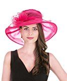 Lucky Leaf Women Kentucky Derby Church Party Floral Brim Summer Wedding Hat (Rose Red)