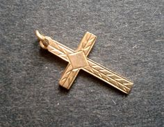 14k Yellow Gold Cross Pendant Charm by queenofsienna on Etsy, $36.00