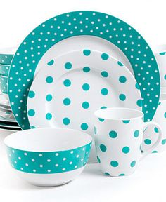 Isaac Mizrahi Polka Dot Teal 16-Piece Set - Casual Dinnerware - Dining Entertaining - Macy's
