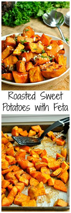Feta, dried cranberries, and maple syrup take these Roasted Sweet Potatoes with Feta to the next level! These make the perfect side dish for Thanksgiving or any other fall dinner!